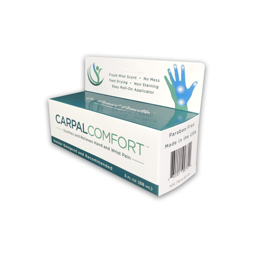 Carpal Comfort Roll-On - 3 fl oz - Front and side panel of box - Designed to Soothe Carpal Tunnel Pain